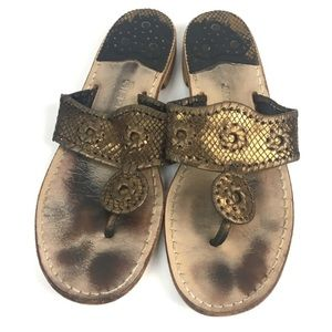 Jack Rogers Jacks Snake Embossed Sandals Bronze 8